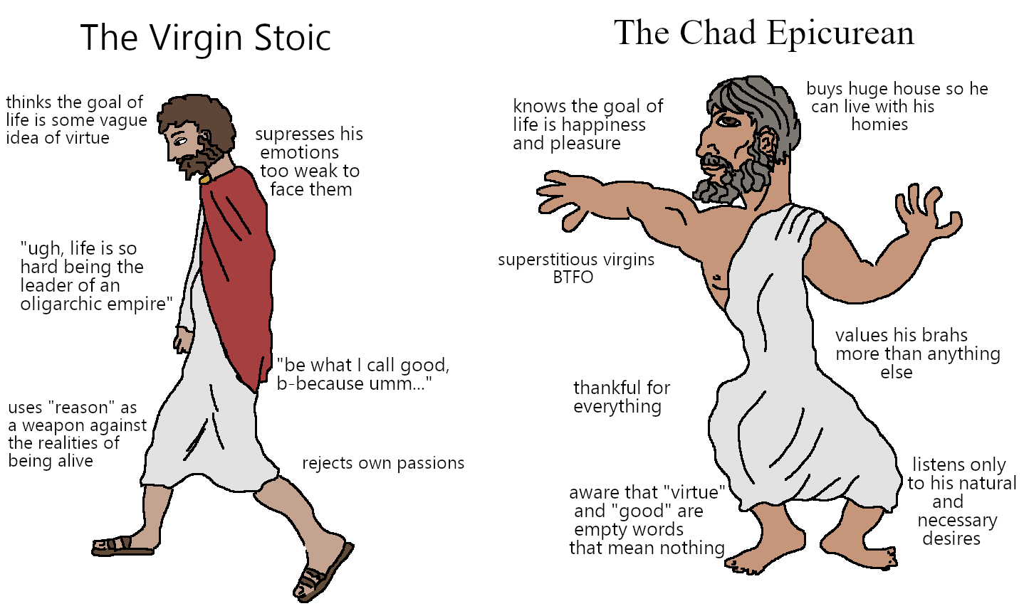 Virgin Stoic vs Chad Epicurean
