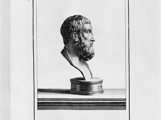Epicurus Etching from Herculaneum Bust
