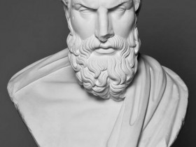 Epicurus Bust - Black and White