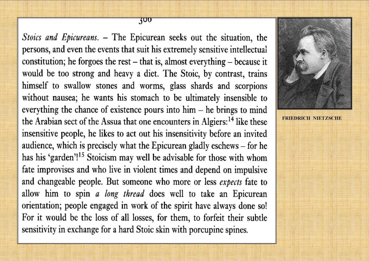 Nietzsche - On Stoicism And Porcupine Skins
