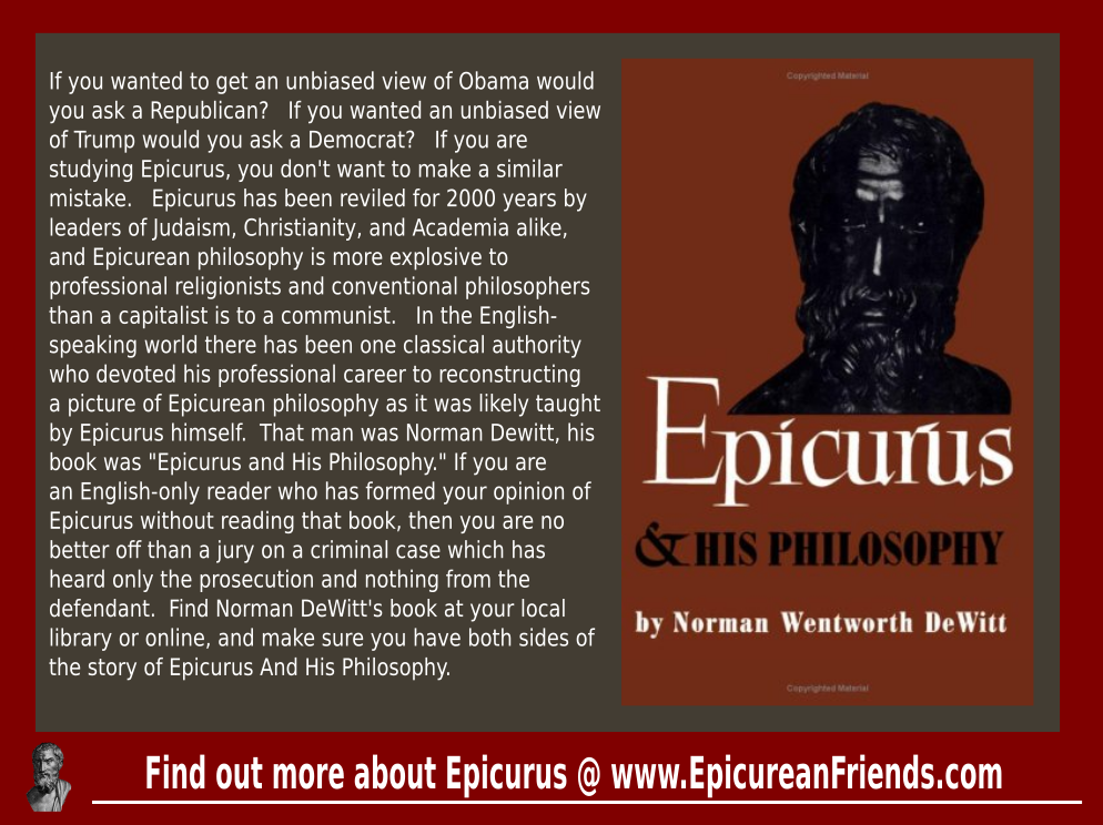"Norman DeWitt's ""Epicurus And His Philosophy"""