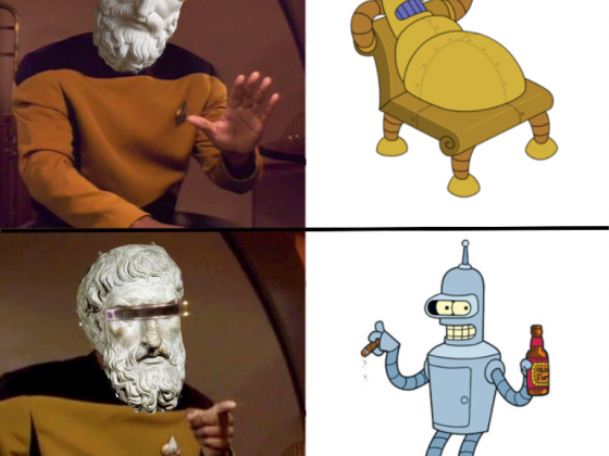 Geordi-picurus Lovable Bender vs. Hedonismbot