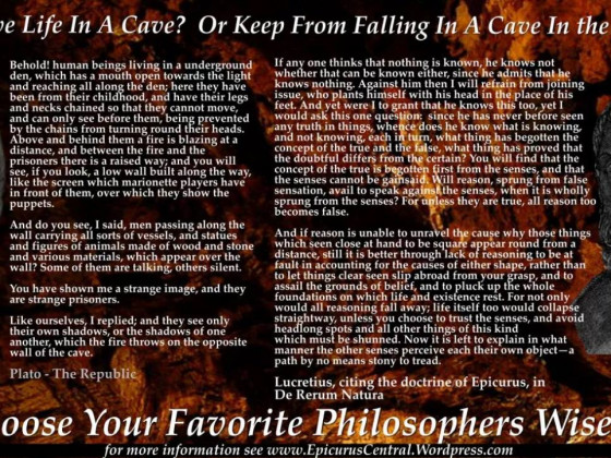 Epicurus v Plato - On Caves