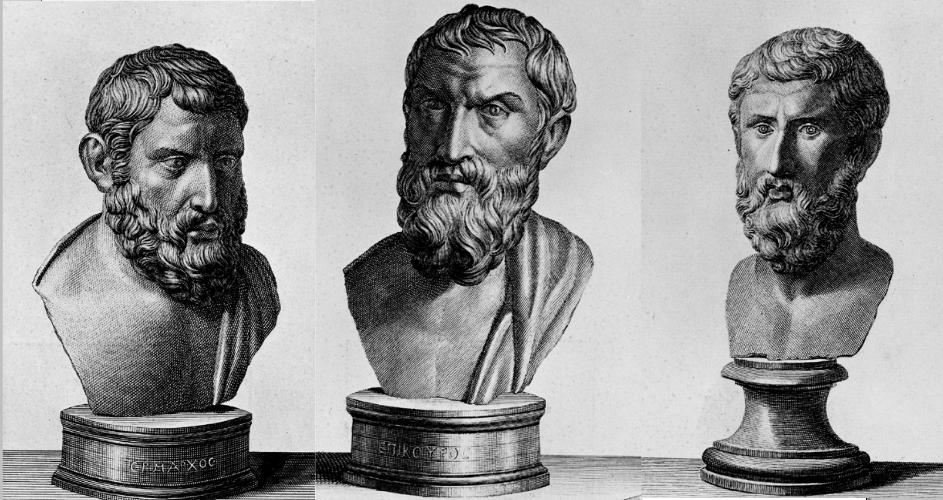 Hermarchus, Epicurus, and Metrodorus - Etchings of Herculaneum Busts