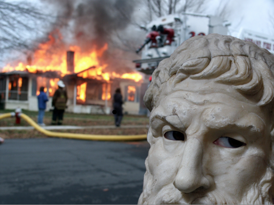 Epicurus Burns Down House Meme Template